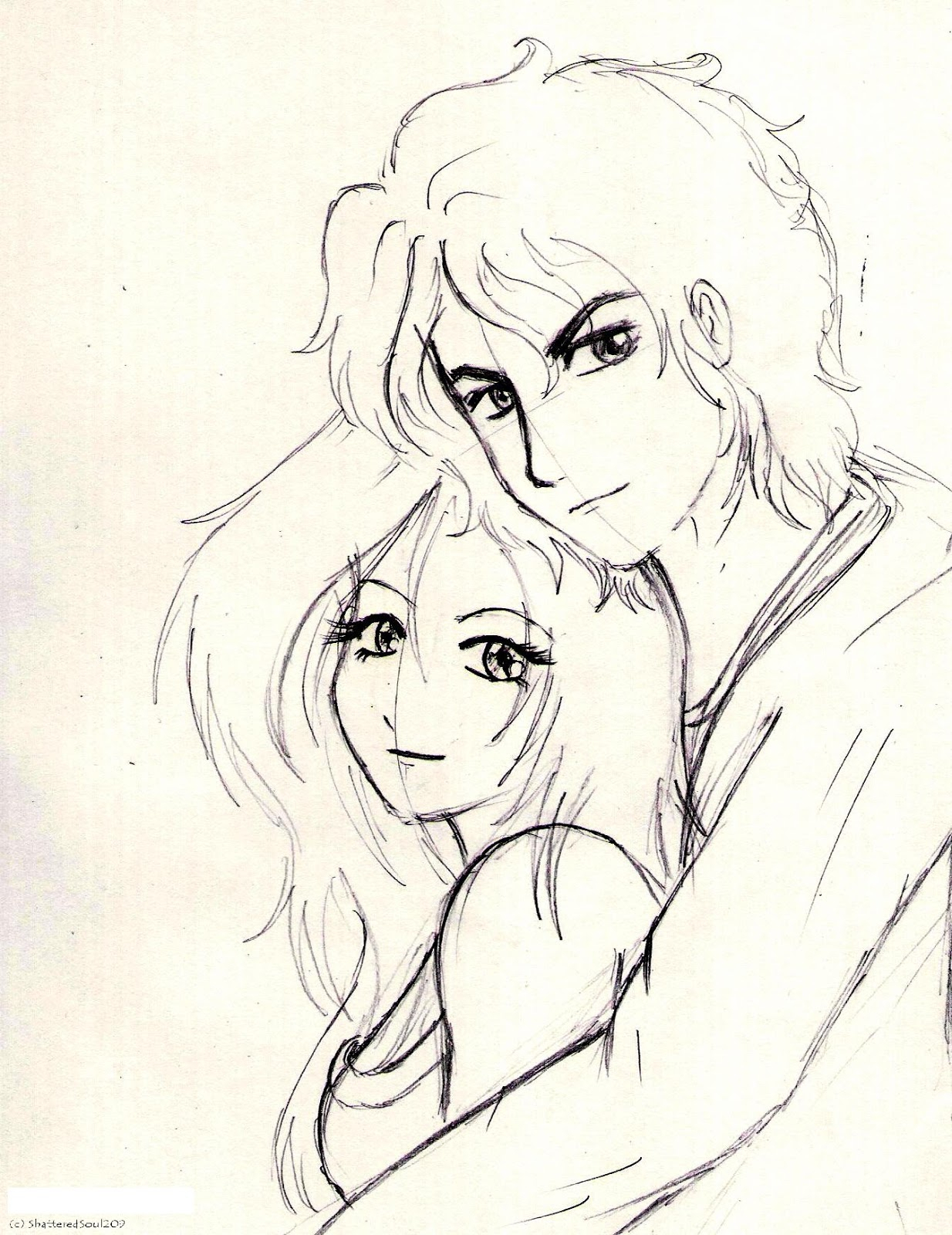 1234x1600 Pencil Colour Sketch Love Couple I Love You To The Moon And Back
