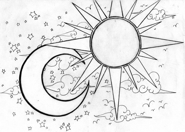 600x426 Celestial Sun And Moon Drawings Pictures To Pin