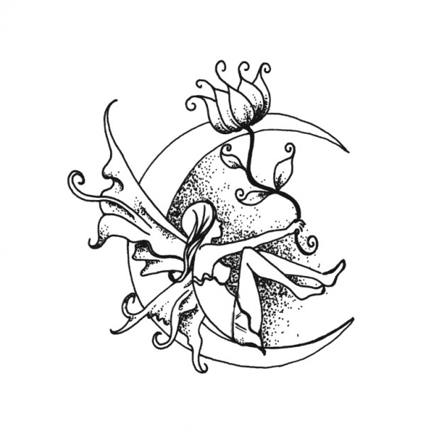 630x630 Dotwork Fairy On Half Moon With Flower Tattoo Design