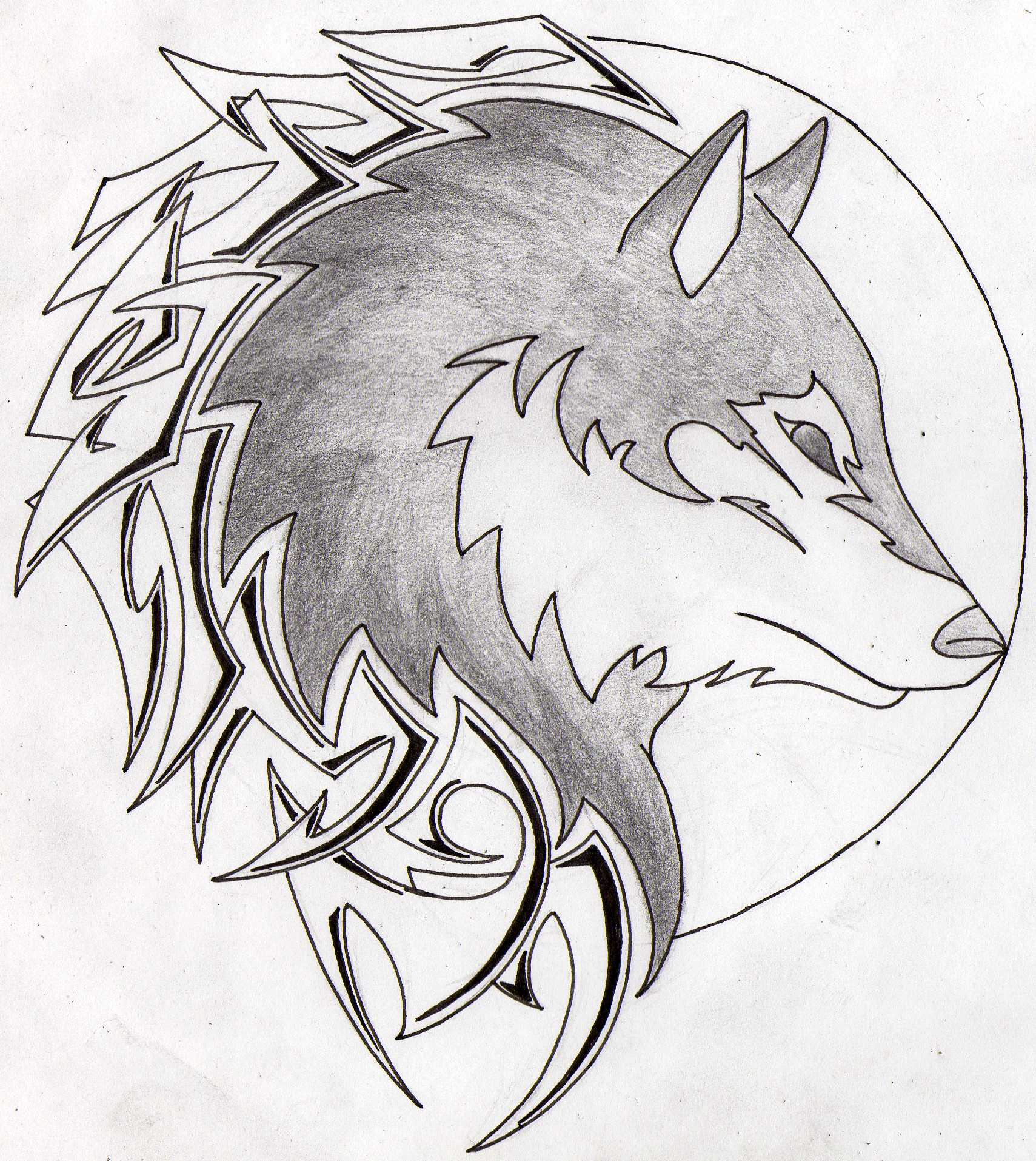 1709x1914 Wolf In A Moon Tribal Tattoo By Aglinskas