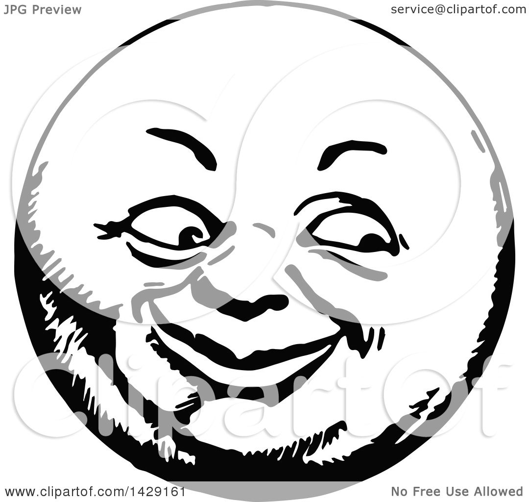1080x1024 Clipart Of A Vintage Black And White Happy Moon Face