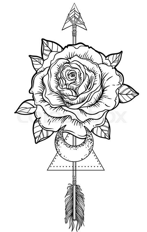 509x800 Blackwork Tattoo Flash. Rose Flower, Arrow And Moon. Highly