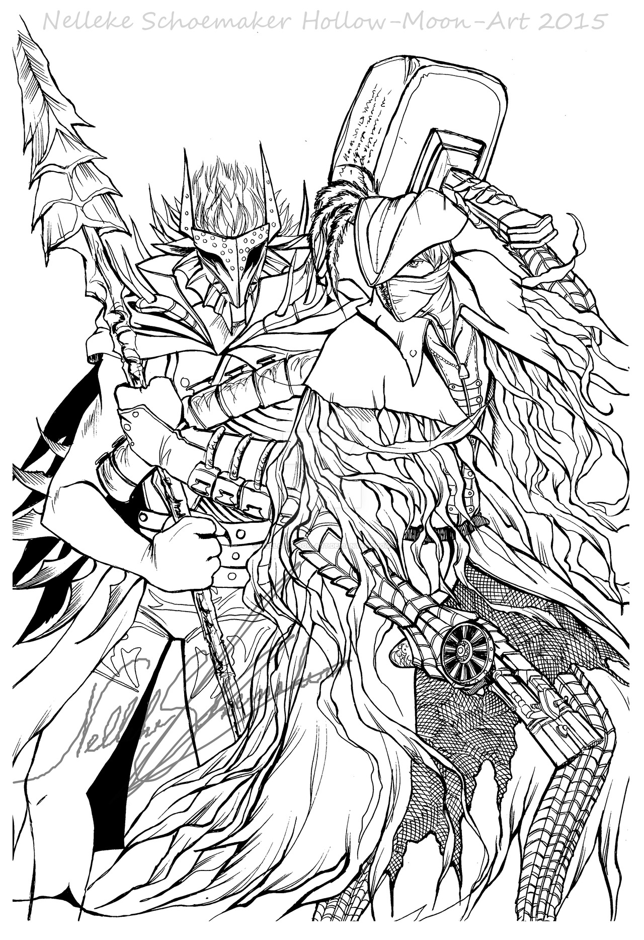 1280x1866 Bloodborne X Soul Sacrifice Lineart Crossover By Hollow Moon Art