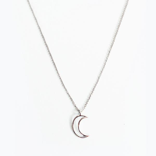 600x600 Silver Rhodium Plated Moon Outline Pendant Necklace Minimal Jewels