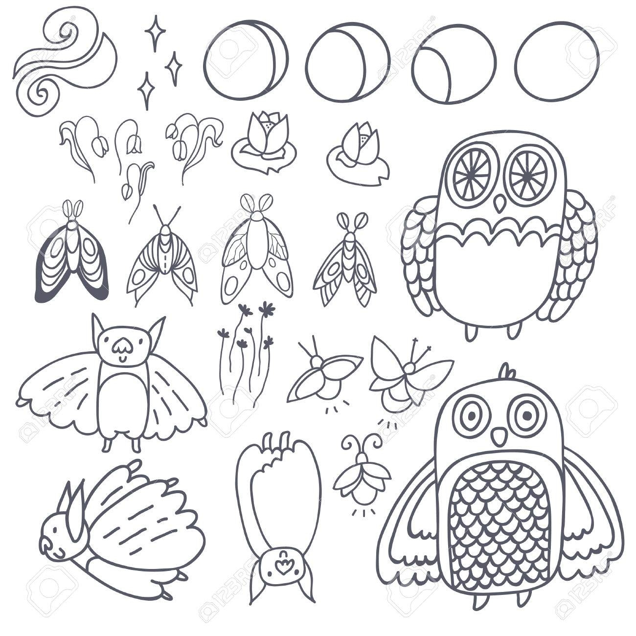 1300x1300 Night Creatures Outline Vector Set With Adorable Owls, Bats