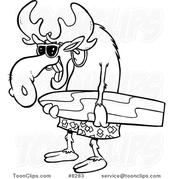 581x600 Cartoon Blacknd White Line Drawing Of Surfer Moose Carrying