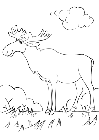 340x480 Cartoon Moose Coloring Page Free Printable Coloring Pages