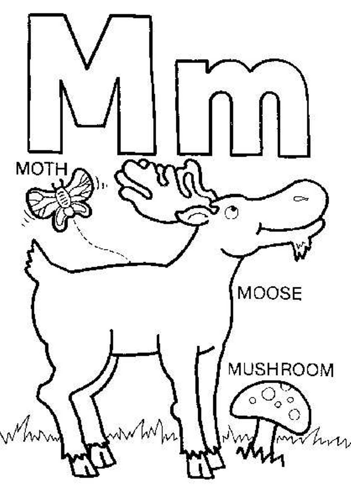 1166x1623 letter m coloring page preschool to funny draw printable