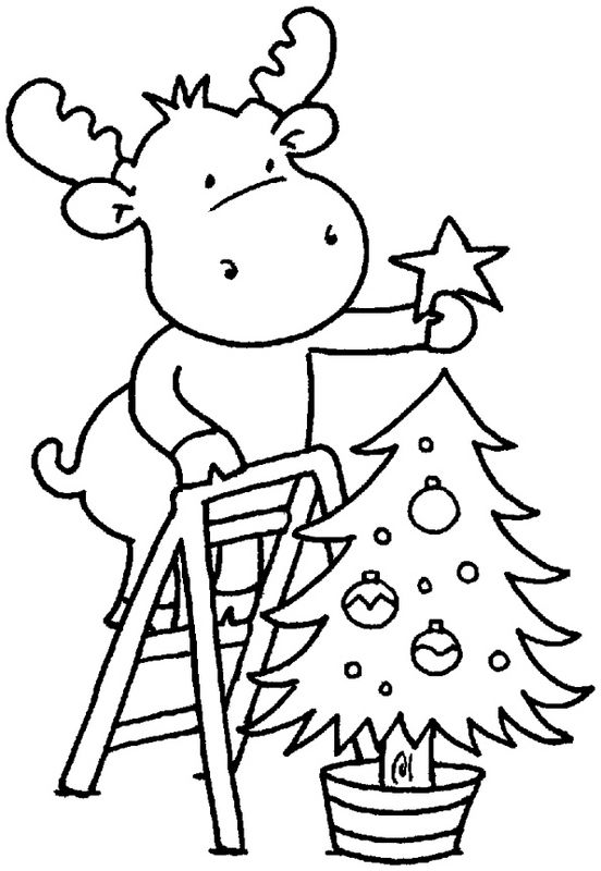 552x800 Moose Coloring Pages For Christmas
