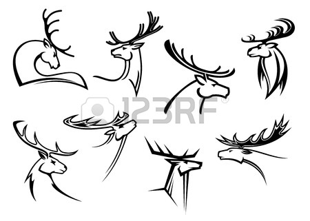 450x321 Outline Sketch Deer Heads With Proud Profile And Large Antlers