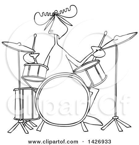 450x470 Clipart Of A Cartoon Black And White Lineart Musician Moose