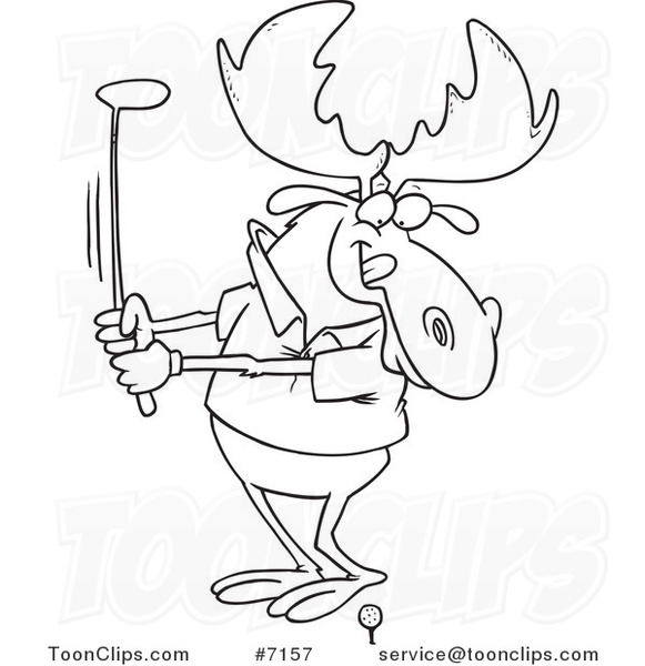 581x600 Cartoon Black And White Line Drawing Of A Golfing Moose