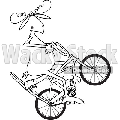 400x400 Of Cartoon Blacknd White Lineart Moose Popping Wheelie On