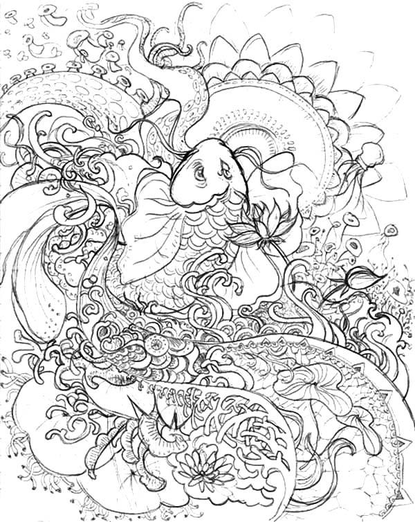 600x754 Koi Fish Pencil Sketch Coloring Pages Koi Fish Pencil Sketch