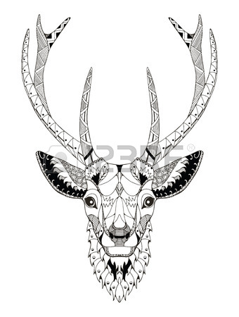 340x450 Moose Stylized, Vector, Illustration, Freehand Pencil. Pattern