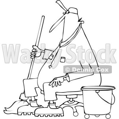 400x400 Clipart Of A Cartoon Black And White Male Custodian Janitor Taking
