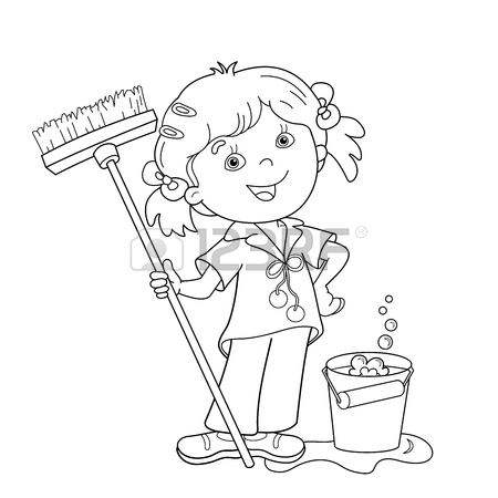 450x450 Coloring Page Outline Of Cartoon Girl With Mop And Bucket