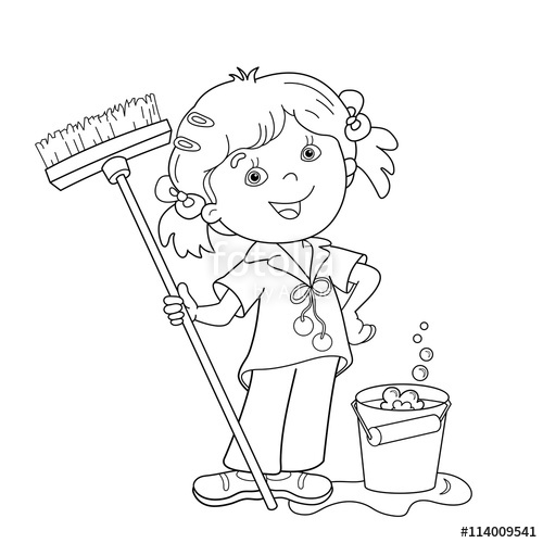 500x500 Coloring Page Outline Of Cartoon Girl With Mop And Bucket Stock