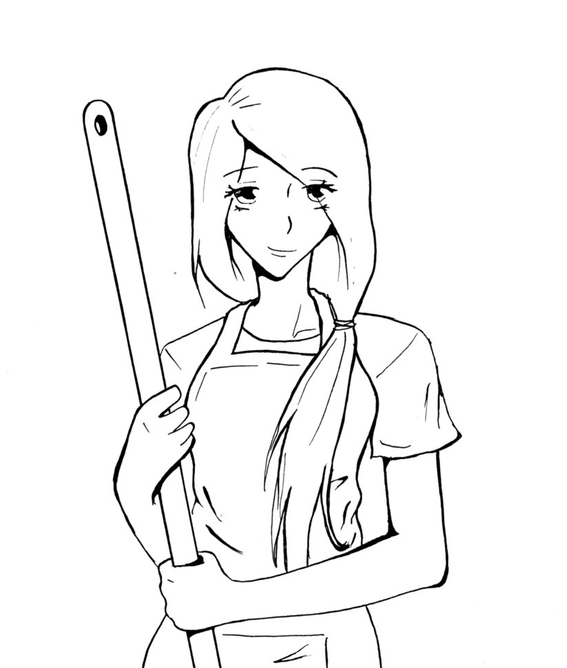 823x970 A Girl With A Broom Or A Mop By Winterlockheart
