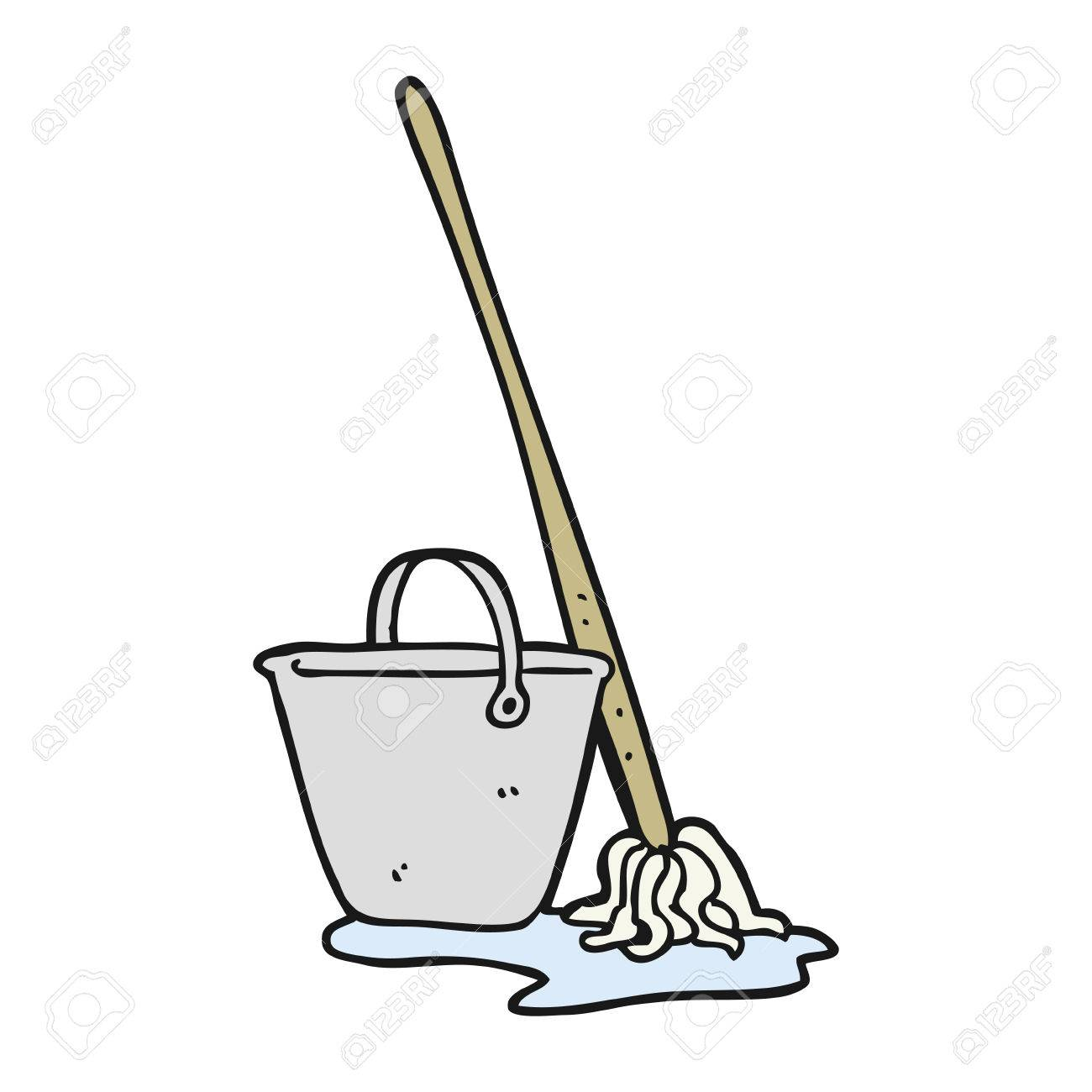 1300x1300 Freehand Drawn Cartoon Mop And Bucket Royalty Free Cliparts