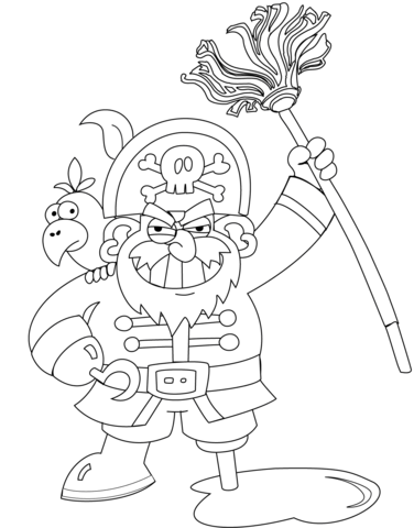 376x480 Pirate With Mop Coloring Page Free Printable Coloring Pages