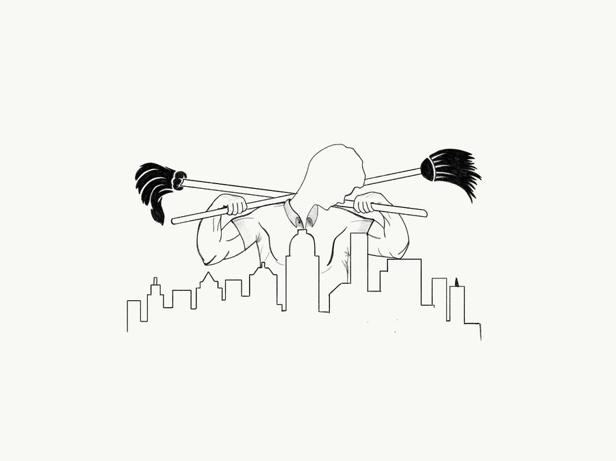 900x674 Simple Line Drawing Of Powerful Cleaning Man Looking Down At City