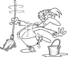 236x199 Vector Of A Cartoon Woman Whistling While Mopping