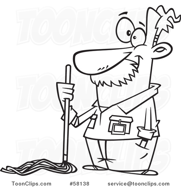 581x600 Cartoon Outline Of Caretaker Or Janitor Custodian Guy With A Mop
