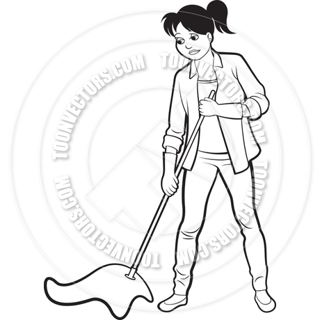 460x460 Cartoon Woman With Mop Cleaning By Lal Perera Toon Vectors Eps
