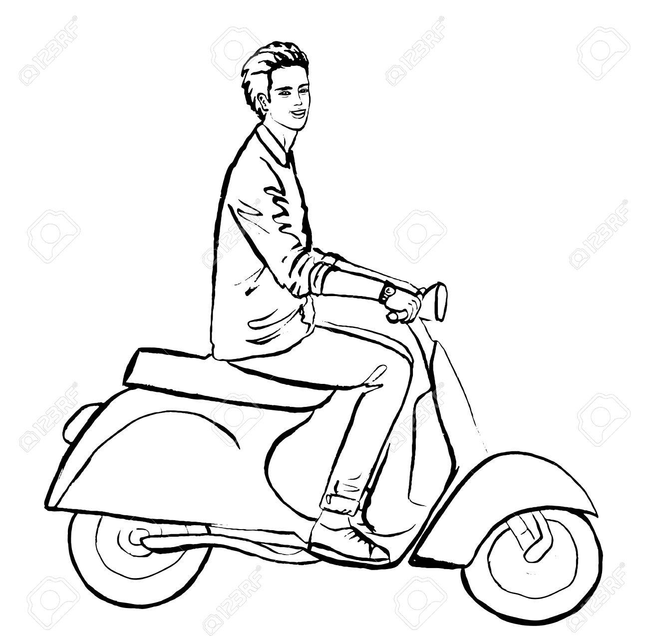 1300x1274 Illustration Of Beautiful Young Man Driving Scooter. Fashion
