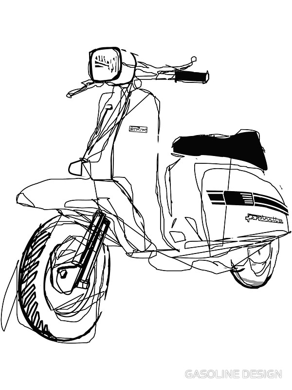600x800 Lambretta Custom Line Art Drawing For Gp200 Art Prints By