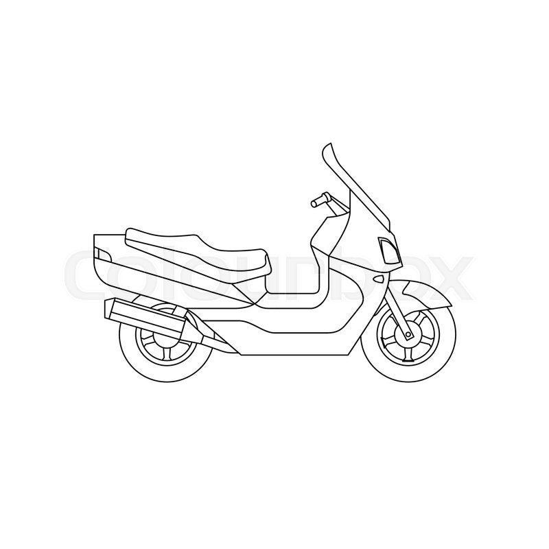 800x800 Maxi Scooter Line Drawing. Vector Thin Illustrations Of Large