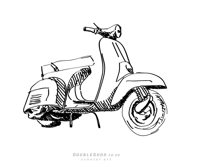 768x640 Modern Vespa Let's Draw Scooters!