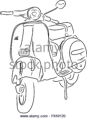 300x412 Silhouette Moped On White Background Stock Photo, Royalty Free