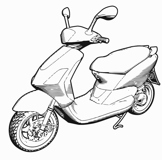 525x519 Couple On A Scooter Printable Image Illustration Sketch For Couple