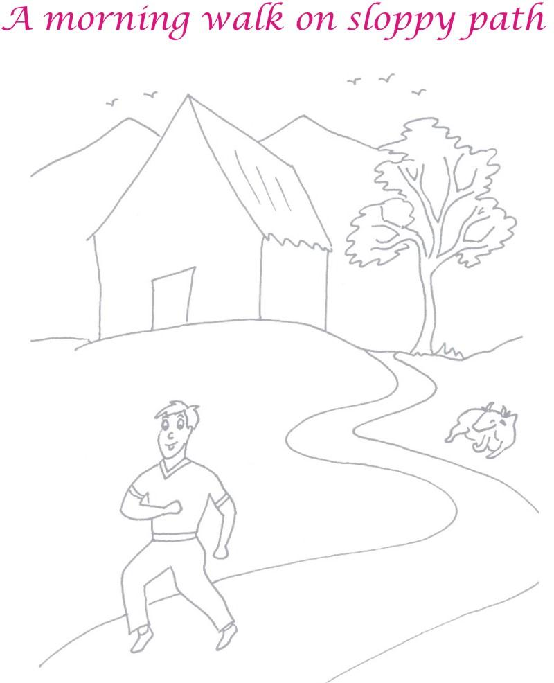 800x986 Morning Walk Scenery Coloring Page