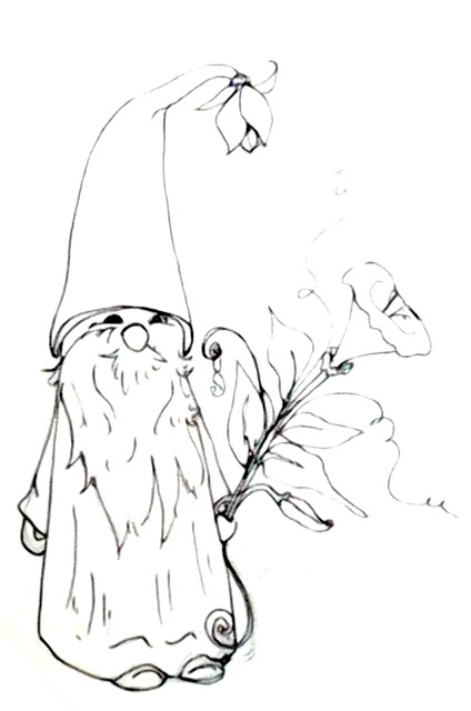 424x640 Deliberately Creative Morning Glory Gnome Doodle Real Time Inking