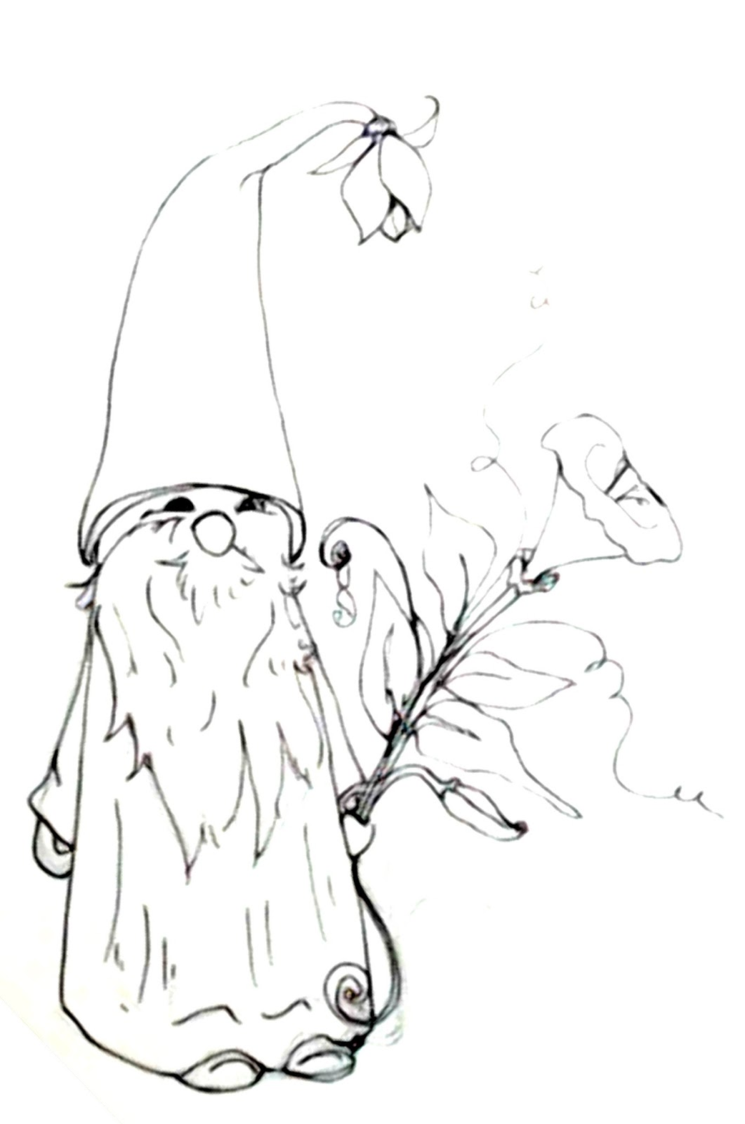 1061x1600 Deliberately Creative Morning Glory Gnome Doodle Real Time Inking