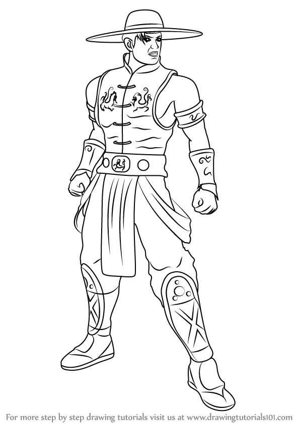 594x844 Learn How To Draw Kung Lao From Mortal Kombat (Mortal Kombat) Step