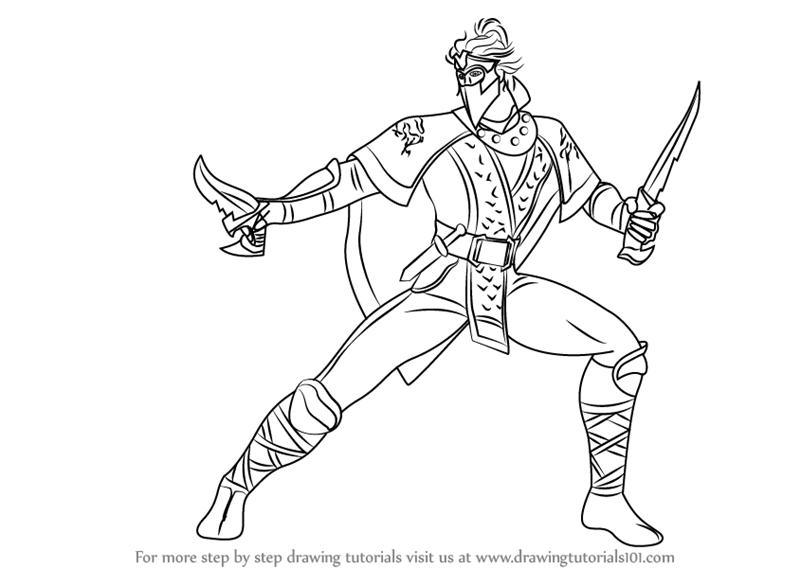 800x568 Learn How To Draw Rain From Mortal Kombat (Mortal Kombat) Step By