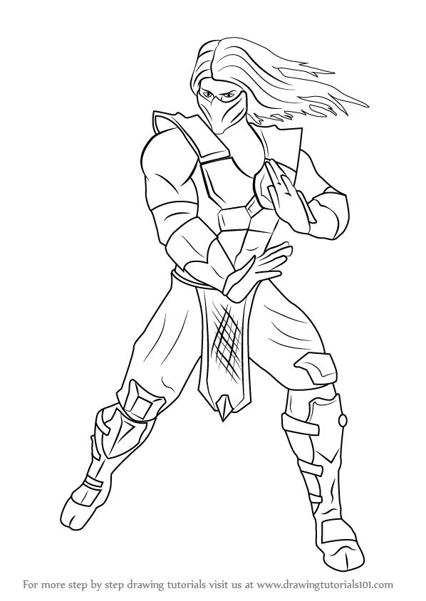 598x844 Learn How To Draw Smoke From Mortal Kombat (Mortal Kombat) Step By
