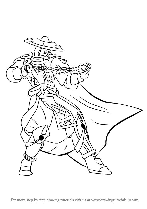 599x846 Learn How To Draw Raiden From Mortal Kombat (Mortal Kombat) Step