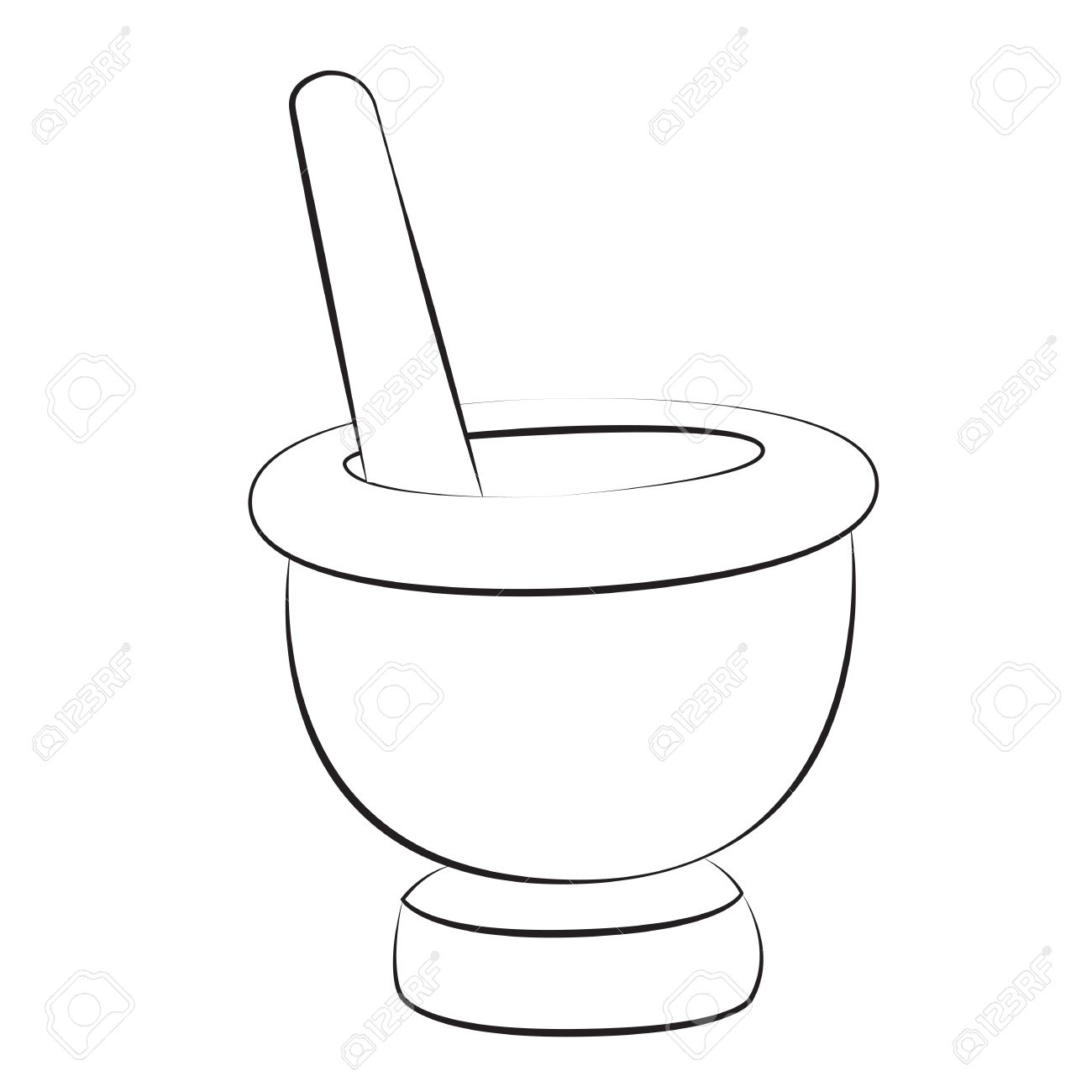 1300x1300 Black Outline Vector Mortar And Pestle On White Background