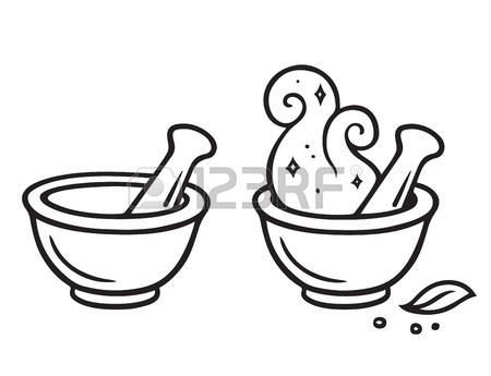 450x345 Cartoon Mortar And Pestle, Magic Potion Making Line Art Drawing