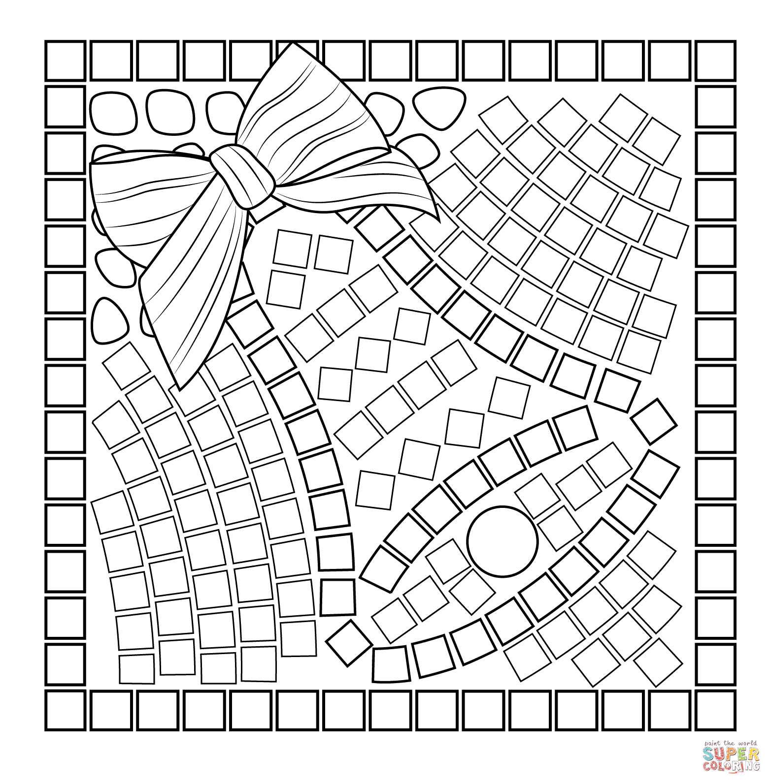 1565x1593 Christmas Bell Mosaic Coloring Page Free Printable Coloring Pages