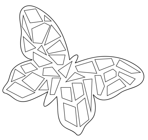 480x456 Butterfly Mosaic Coloring Page Free Printable Coloring Pages