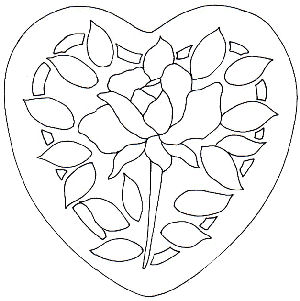 300x301 Rose Heart Stained Glass Pattern And Rose Heart Applique Pattern