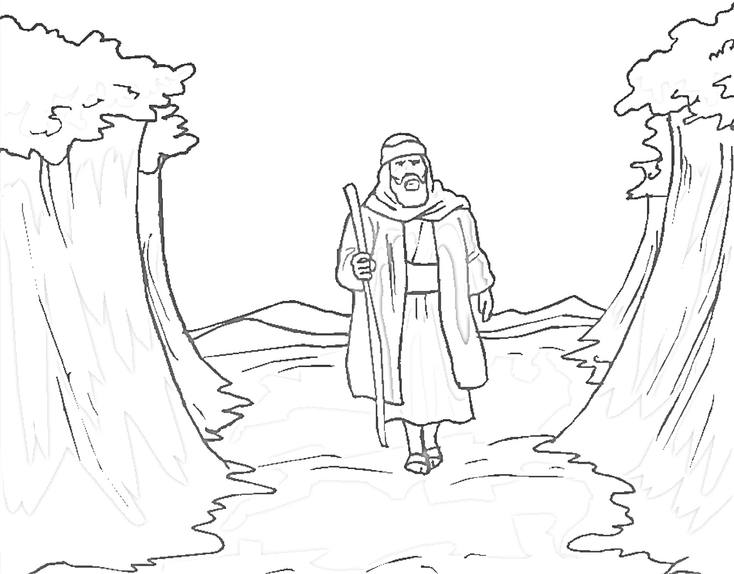 1500x1172 Coloring Pages Alluring Moses Coloring Pages For Kids Moses