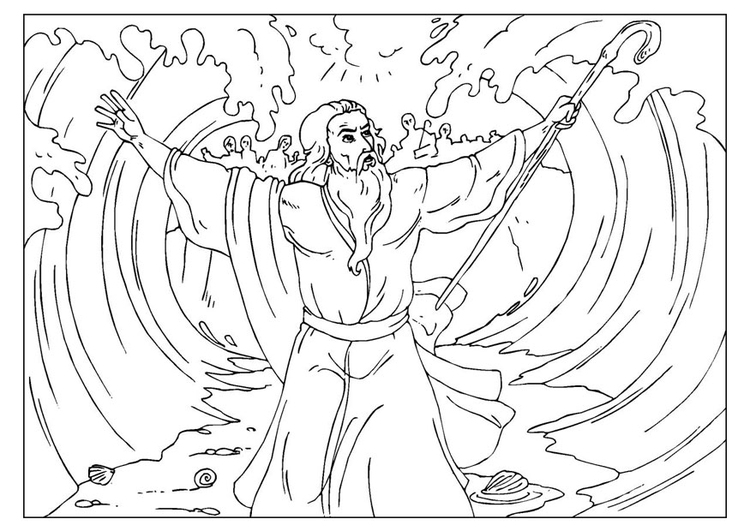 750x531 Coloring Page Moses Parts The Red Sea