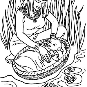 300x300 Moses, Moses Found Safely In River Of Nile Coloring Page Moses